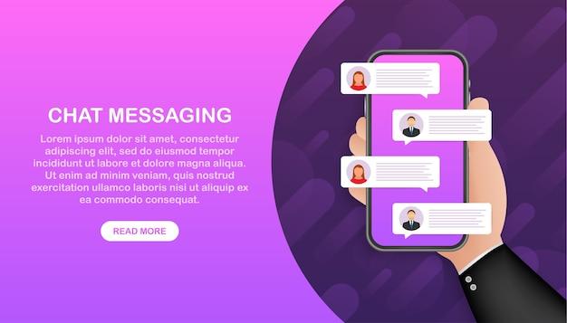 Plantilla de banner de aplicación de chat. mensajes de chat. burbuja de diálogo.