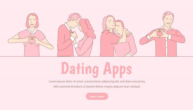 Plantilla de banner de aplicación de citas. historia de amor romántica, concepto de página de destino del día de san valentín.