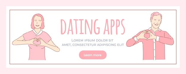 Plantilla de banner de aplicación de citas. historia de amor romántica, concepto de página web del día de san valentín.
