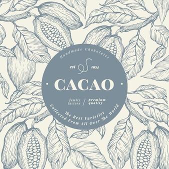 Plantilla de banner de árbol de cacao en grano. fondo de los granos de cacao del chocolate.