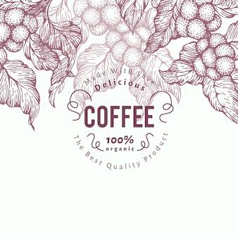 Plantilla de banner de árbol de café. ilustracion vectorial fondo retro del café.