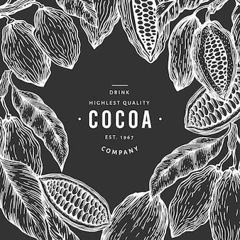 Plantilla de banner de árbol de grano de cacao.