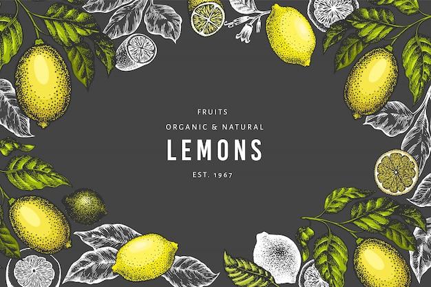 Plantilla de banner de árbol de limón dibujado a mano.