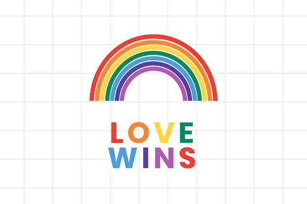 Plantilla de banner de arco iris mes del orgullo lgbtq con texto de amor gana