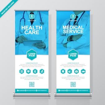 Plantilla de banner de asistencia médica y médica enrollable y de pie