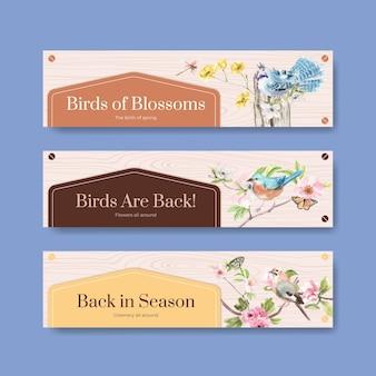 Plantilla de banner con aves y concepto de primavera