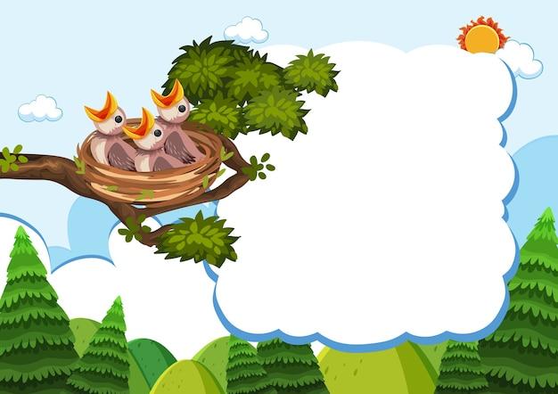 Plantilla de banner de aves y pollitos