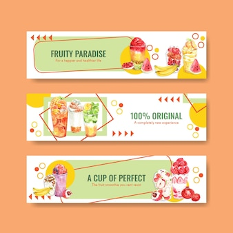 Plantilla de banner con batidos de frutas