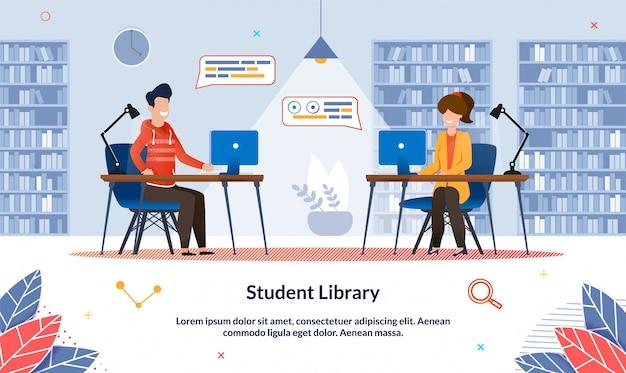 Plantilla de banner biblioteca de estudiantes en la universidad