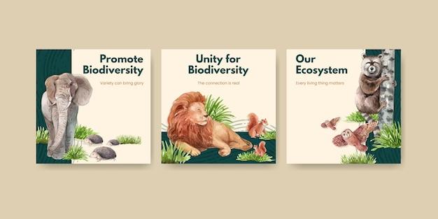 Plantilla de banner con la biodiversidad como especies de vida silvestre natural o protección de la fauna.