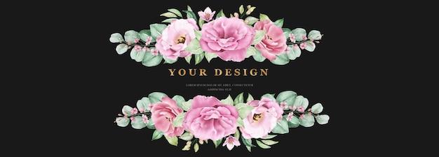 Plantilla de banner de boda floral con flores y hojas de rosas rosadas
