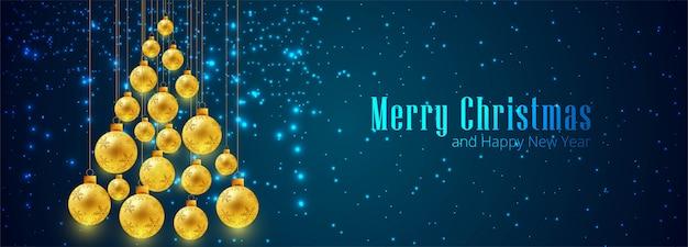 Plantilla de banner de bola de navidad decorativa dorada
