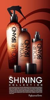 Plantilla de banner de botellas de cosméticos realistas