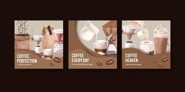 Plantilla de banner con café