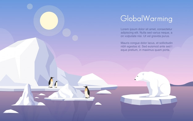 Plantilla de banner de calentamiento global. polo norte, fusión de glaciares, pingüinos y oso polar en témpano de hielo ilustración plana con espacio de texto. cambio climático, aumento del nivel del mar, daños a la naturaleza.