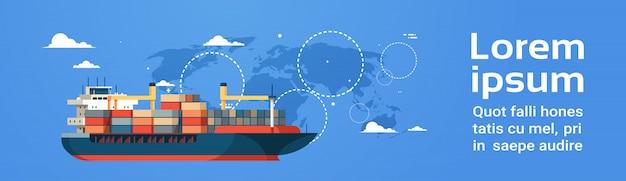 Plantilla de banner con carga marítima industrial, envío internacional, mapa mundial