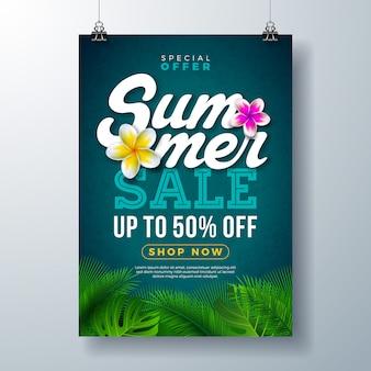 Plantilla de banner de cartel de venta de verano con flores y hojas de palmeras exóticas