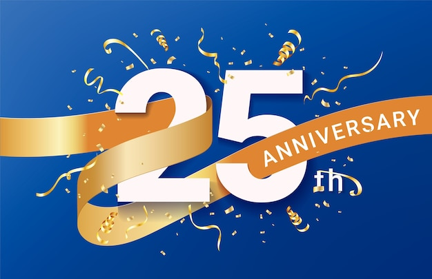Plantilla de banner de celebración del 25 aniversario. números grandes con confeti dorado de destellos y cinta de brillos.