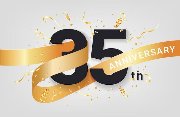 Plantilla de banner de celebración de 35 aniversario. números grandes con confeti dorado de destellos y cinta de brillos.