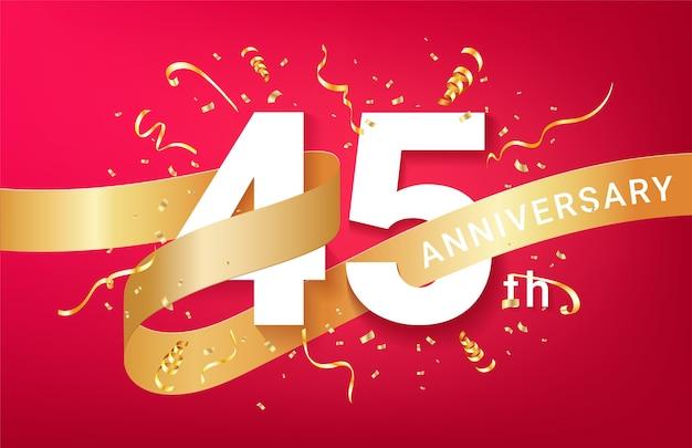 Plantilla de banner de celebración de 45 aniversario. números grandes con confeti dorado de destellos y cinta de brillos.