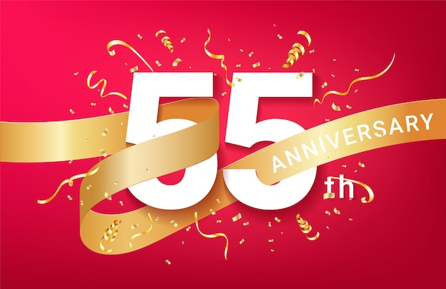 Plantilla de banner de celebración del 55 aniversario. números grandes con confeti dorado de destellos y cinta de brillos.