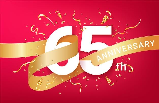 Plantilla de banner de celebración de 65 aniversario. números grandes con confeti dorado de destellos y cinta de brillos.