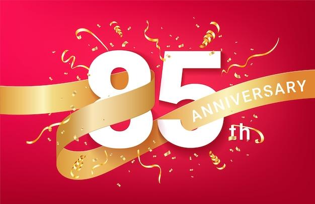 Plantilla de banner de celebración de 85 aniversario. números grandes con confeti dorado de destellos y cinta de brillos.