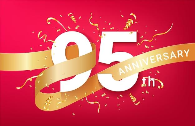 Plantilla de banner de celebración de 95 aniversario. números grandes con confeti dorado de destellos y cinta de brillos.