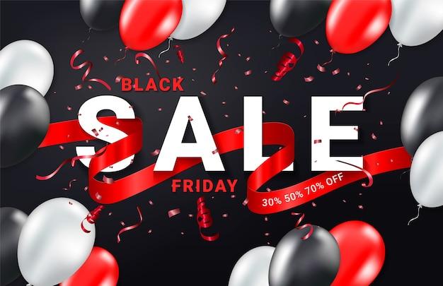 Plantilla de banner de celebración de anuncios de venta de viernes negro. cinta de confeti, globos y brillos. fondo de evento festivo.