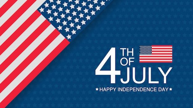 Plantilla de banner de celebración día de la independencia de estados unidos con bandera americana