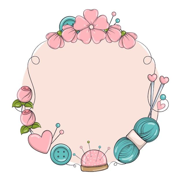 Plantilla de banner de círculo para hacer a mano, tejer, coser. marco con atributos de costura y tejido en estilo doodle.