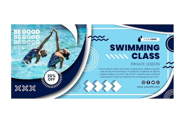 Plantilla de banner de clase de natación