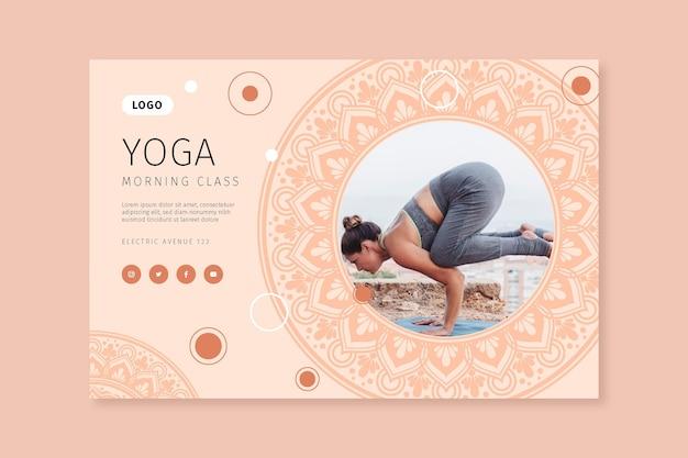 Plantilla de banner de clase de yoga por la mañana