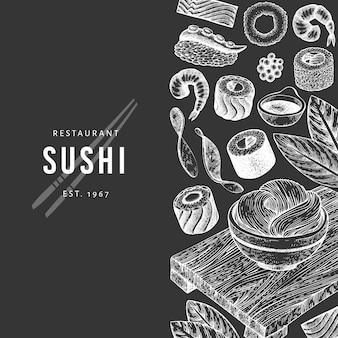 Plantilla de banner de cocina japonesa dibujada a mano.
