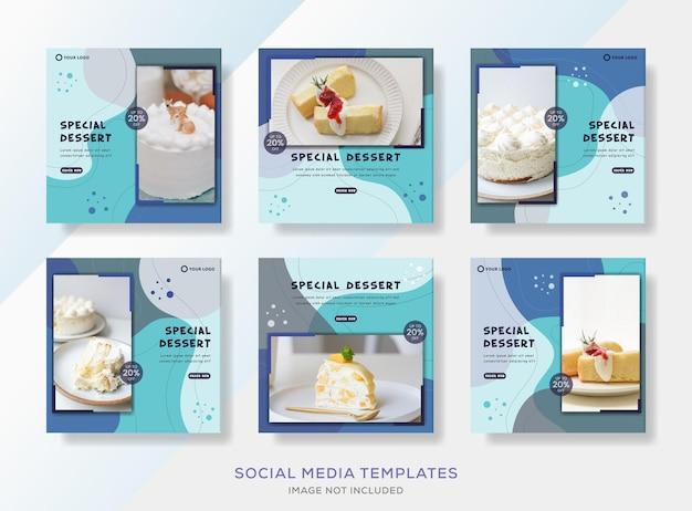 Plantilla de banner de colección de dulces de pastelería para publicación en redes sociales.