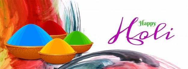 Plantilla de banner colorido abstracto feliz holi festival
