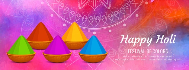 Plantilla de banner colorido hermoso feliz holi
