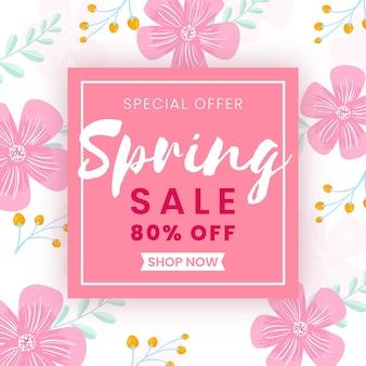 Plantilla de banner colorido de venta de primavera