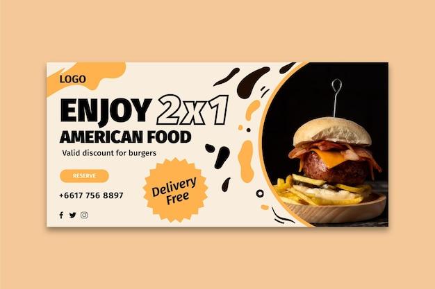 Plantilla de banner de comida americana