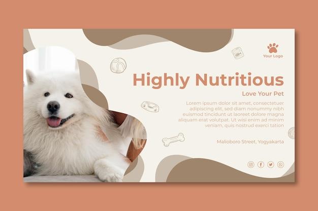 Plantilla de banner de comida animal nutritiva Vector Premium