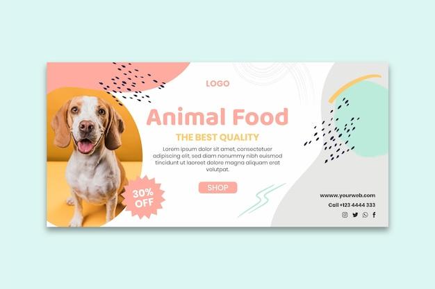 Plantilla de banner de comida para animales