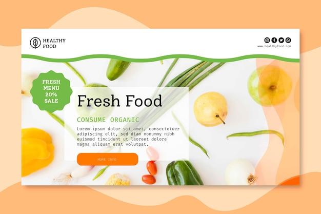 Plantilla de banner de comida bio y saludable