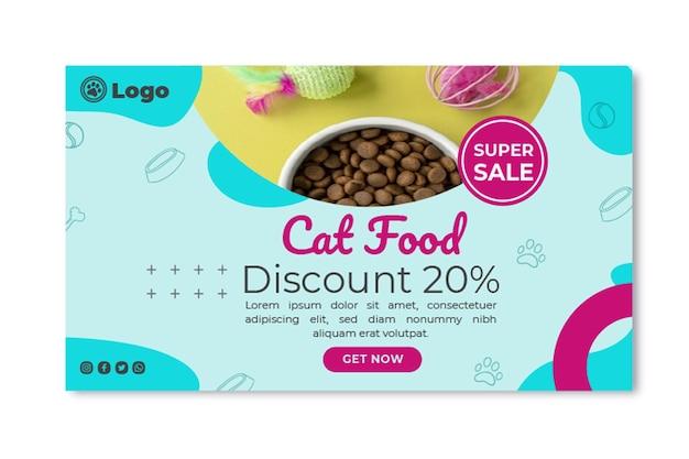 Plantilla de banner de comida para gatos con descuento