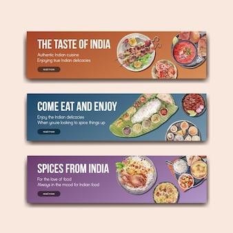 Plantilla de banner con comida india