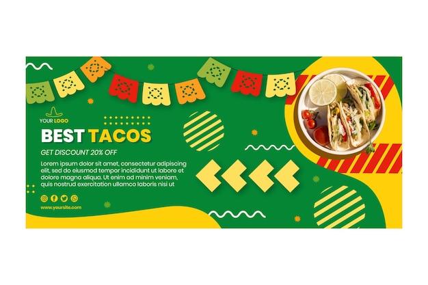 Plantilla de banner de comida mexicana horizontal