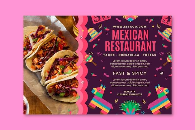 Plantilla de banner de comida de restaurante mexicano