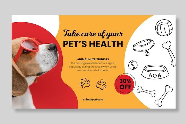 Plantilla de banner de comida sana para animales vector gratuito