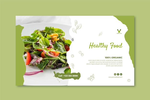 Plantilla de banner de comida sana y bio