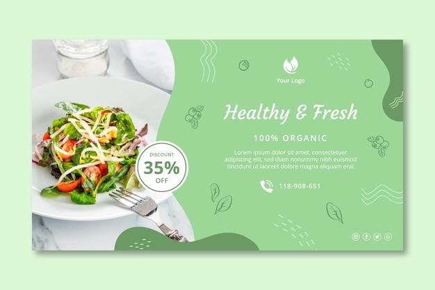 Plantilla de banner de comida sana y bio Vector Premium