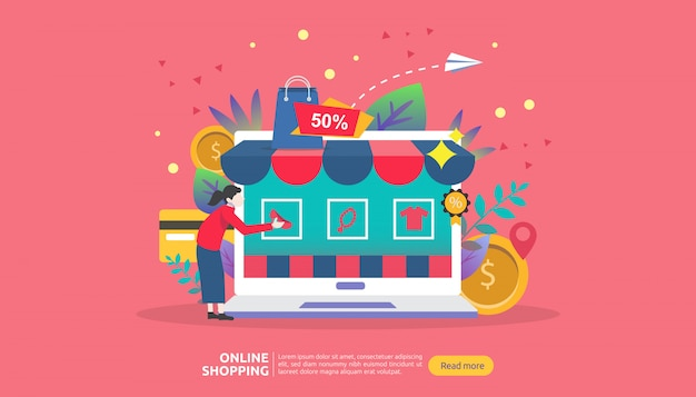Plantilla de banner de compras en línea. concepto de negocio para venta e-commerce.